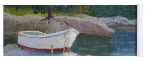 Boat On Tidal River Yoga Mat
