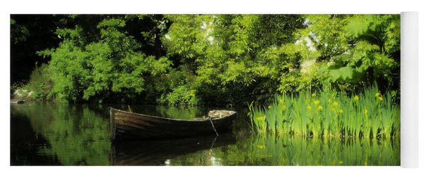 Boat Reflected On Water County Clare Ireland Painting Yoga Mat