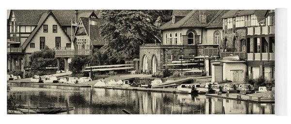 Boathouse Row In Sepia Yoga Mat