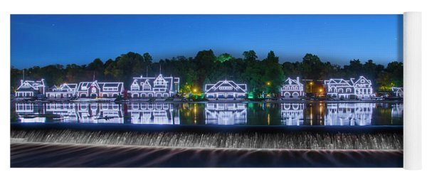 Yoga Mat featuring the photograph Boathouse Row Night Scene by Bill Cannon