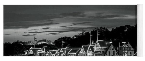 Boathouse Row Philadelphia Pa Night Black And White Yoga Mat