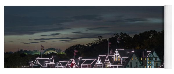 Boathouse Row Philly Pa Night Yoga Mat