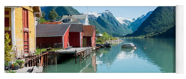Boathouse With Mountains And Reflection In The Fjord In Norway Yoga Mat