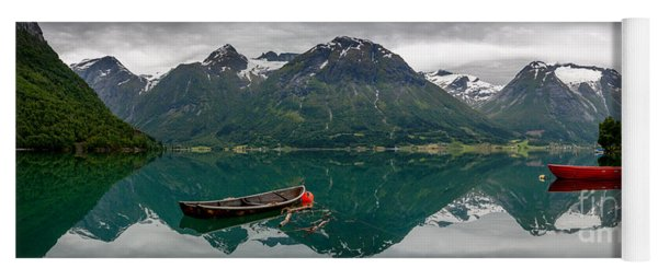Yoga Mat featuring the photograph Boats And Mountain Reflection In The Water In Panorama by IPics Photography