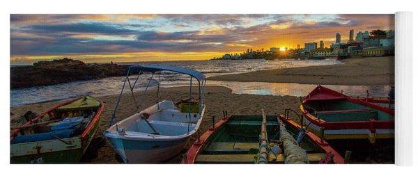 Boats At Sunset, Bahia, Brazil Yoga Mat