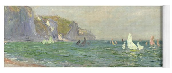 Boats Below The Cliffs At Pourville Yoga Mat