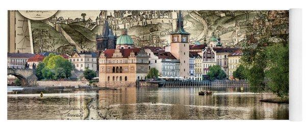 Bohemia Moravia Prague Map Yoga Mat