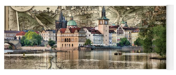 Bohemia Moravia Prague Map Yoga Mat
