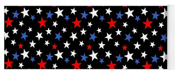 Bold Patriotic Stars In Red White And Blue On Black Yoga Mat