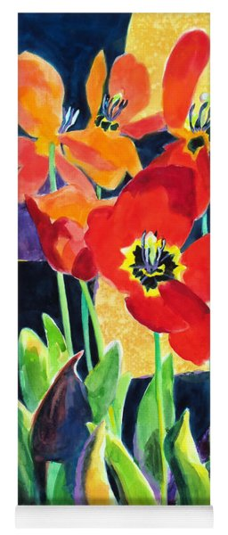 Bold Quilted Tulips Yoga Mat