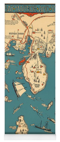Boothbay Harbor And Vicinity - Vintage Illustrated Map - Pictorial - Cartography Yoga Mat