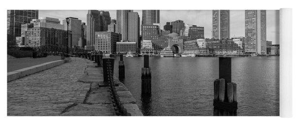 Boston Cityscape From The Seaport District In Black And White Yoga Mat