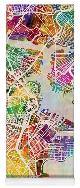Boston Massachusetts Street Map Yoga Mat