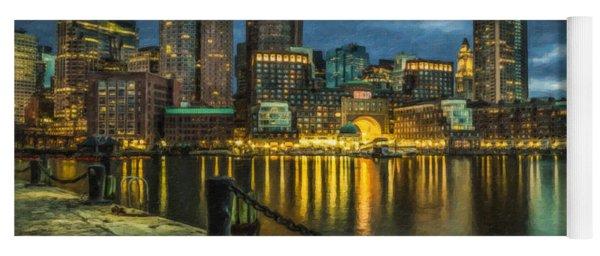 Boston Skyline At Night - Cty828916 Yoga Mat