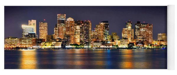 Boston Skyline At Night Panorama Yoga Mat