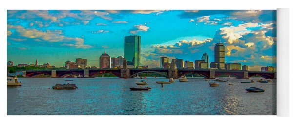 Boston Skyline Painting Effect Yoga Mat