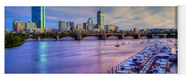 Boston Skyline Sunset Yoga Mat
