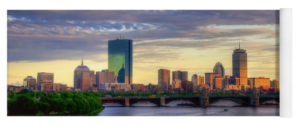 Boston Skyline Sunset Over Back Bay Yoga Mat