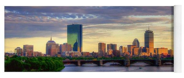 Boston Skyline Sunset Over Back Bay Yoga Mat