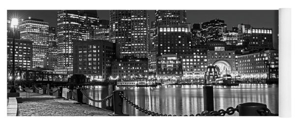Boston Waterfront Boston Skyline Black And White Yoga Mat