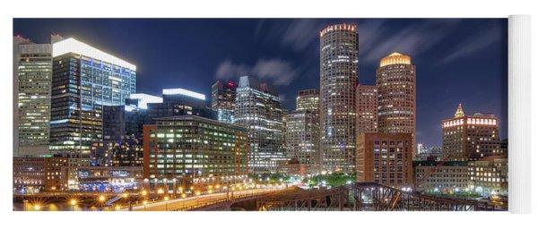 Boston's Skyline At Night Yoga Mat