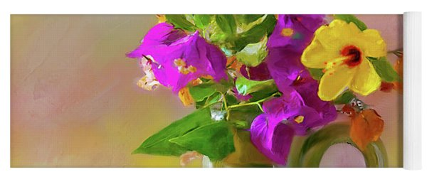 Bougainvilleas In A Green Jar. Yoga Mat