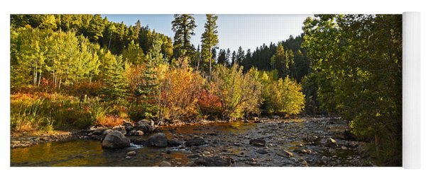 Boulder Colorado Canyon Creek Fall Foliage Yoga Mat