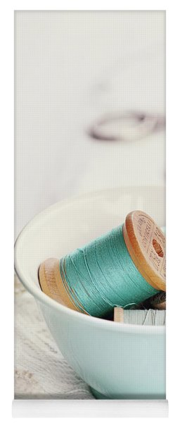 Bowl Of Vintage Spools Of Thread Yoga Mat