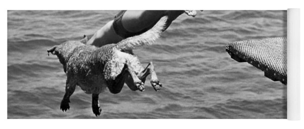 Boy And His Dog Dive Together Yoga Mat