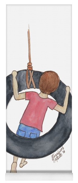 Yoga Mat featuring the painting Boy On Swing 1 by Betsy Hackett