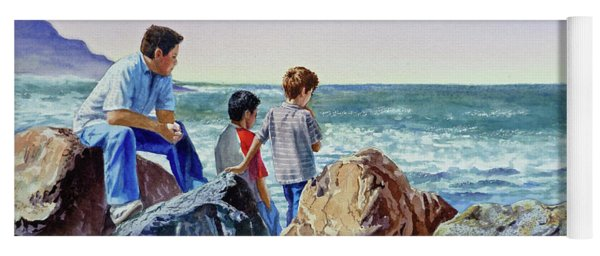 Boys And The Ocean Yoga Mat