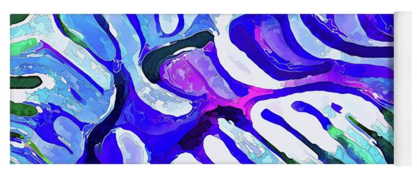 Brain Coral Abstract 5 In Blue Yoga Mat