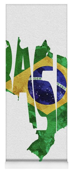 Brazil Typographic Map Flag Yoga Mat