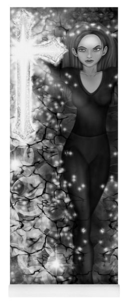 Breaking Through Darkness - Black And White Fantasy Art Yoga Mat