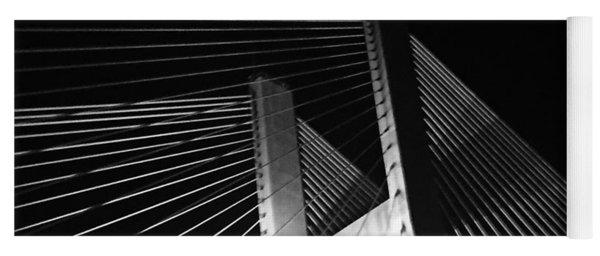 Bridge At Night Black And White Yoga Mat