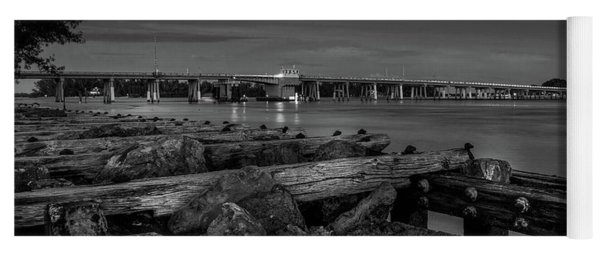 Yoga Mat featuring the photograph Bridge To Longboat Key In Bw by Doug Camara