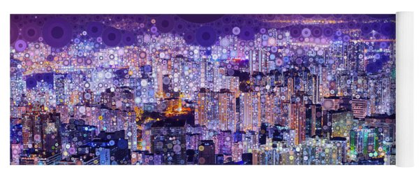 Yoga Mat featuring the mixed media Bright Lights, Big City by Susan Maxwell Schmidt