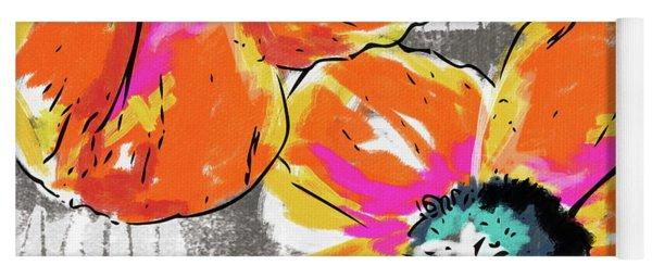 Bright Orange Poppies- Art By Linda Woods Yoga Mat