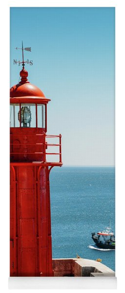 Bright Red Portuguese Lighthouse Yoga Mat