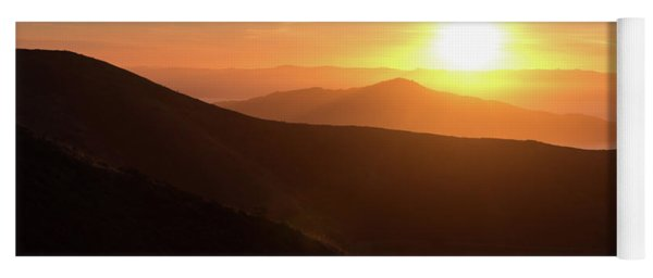 Bright Sun Rising Over The Mountains Yoga Mat