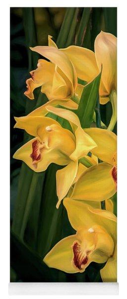 Bright Yellow Orchids Yoga Mat