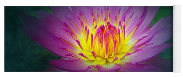 Brightly Glowing Lotus Flower Yoga Mat