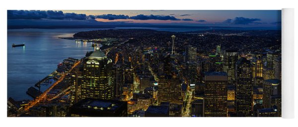 Brilliant Seattle Skyline Panorama From Atop The Columbia Center Yoga Mat