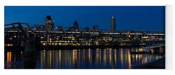 British Symbols And Landmarks - Millennium Bridge And Thames River At Low Tide Yoga Mat