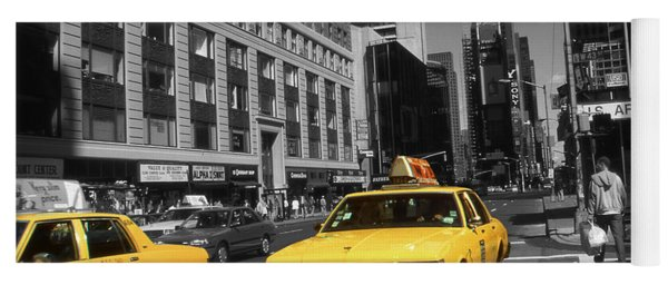 New York Broadway - Yellow Taxi Cabs Yoga Mat