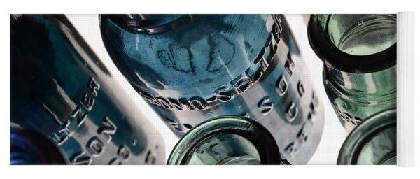 Bromo Seltzer Vintage Glass Bottles - Rare Green And Blue Yoga Mat