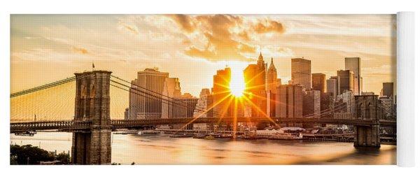 Brooklyn Bridge And The Lower Manhattan Skyline At Sunset Yoga Mat
