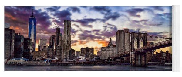 Brooklyn Bridge Manhattan Sunset Yoga Mat