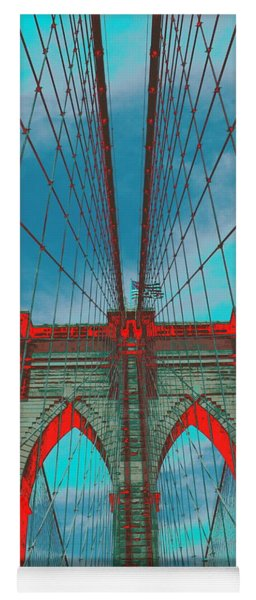 Brooklyn Bridge Red Shadows Yoga Mat