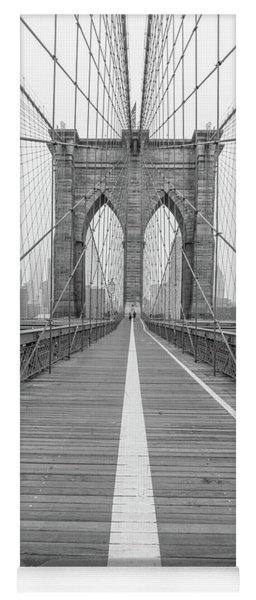 Brookyln Bridge Nyc With Fog  Yoga Mat